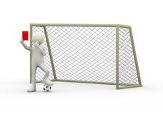 árbitro 3d com o assobio da porta que mostra o cartão vermelho Imagem de Stock Royalty Free