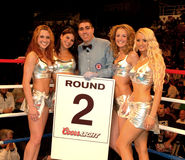 Árbitro del boxeo profesional con las muchachas redondas de la tarjeta. Imagenes de archivo