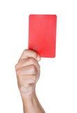 Árbitro del fútbol que muestra la tarjeta amarilla Fotos de archivo libres de regalías