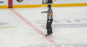 ?rbitro del hockey sobre hielo que se?ala la decisi?n imagenes de archivo