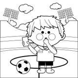 Árbitro do futebol em um estádio Página da coloração Imagem de Stock Royalty Free