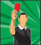 Árbitro do futebol que dá o cartão vermelho Fotos de Stock Royalty Free