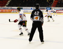 Árbitro do hóquei, fósforo do hóquei em gelo em hockeyallsvenskan entre SSK e MODO Fotos de Stock