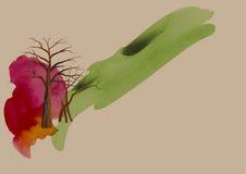 Árbol, árbol en el fondo de la acuarela del parque, extracto, ejemplo del paisaje del vector Fotografía de archivo libre de regalías