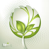 Árbol abstracto con la hoja verde