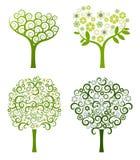 Árbol abstracto con las flores, conjunto del vector Fotografía de archivo libre de regalías