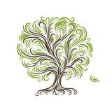 Árbol abstracto con las raíces para su diseño Imagenes de archivo