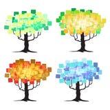 Árbol abstracto - elementos gráficos - cuatro estaciones Imagenes de archivo