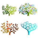 Árbol abstracto - elementos gráficos - cuatro estaciones Imágenes de archivo libres de regalías