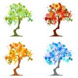 Árbol abstracto - elementos gráficos - cuatro estaciones Fotos de archivo libres de regalías