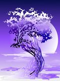 Árbol abstracto en la luz violeta Fotos de archivo libres de regalías