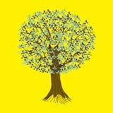 Árbol abstracto en un fondo amarillo Ejemplo detallado del vector de un árbol estilizado con las raíces, las ramas y las hojas stock de ilustración