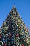 Árbol adornado del Año Nuevo en la calle Fotos de archivo