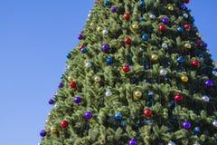 Árbol adornado del Año Nuevo en la calle con el cielo azul Imagen de archivo libre de regalías
