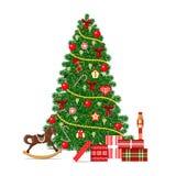 Árbol adornado hermoso de Navidad en el fondo abstracto para la celebración de la Feliz Navidad Imagen de archivo