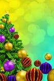 Árbol adornado hermoso de Navidad en fondo abstracto Fotografía de archivo