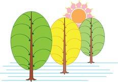 Árbol artístico y Sun Imagen de archivo