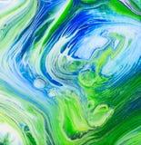 Árbol azul Ring Acrylic Pour Painting Fotos de archivo