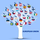 Árbol blanco con las manzanas de las banderas de unión europea Imágenes de archivo libres de regalías