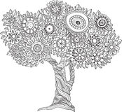 Árbol blanco y negro floral libre illustration