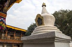 Árbol blanqueado grande del stupa y del bodhi en el primer patio de Punakha Dzong, Bhután Foto de archivo