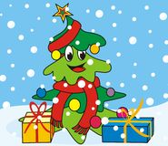Árbol-bufanda de la Navidad Foto de archivo