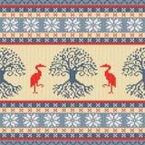 Árbol céltico de la vida y de la grúa Ornamento inconsútil de lana hecho punto libre illustration