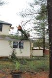 Árbol caido en casa Fotos de archivo