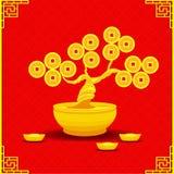 Árbol chino del dinero del vector Fotos de archivo libres de regalías