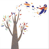 Árbol colorido con el pájaro de la hoja Imagen de archivo