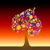 Árbol colorido con las flores Fotos de archivo