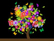 Árbol colorido con las flores stock de ilustración