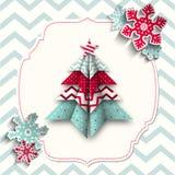 Árbol colorido de la papiroflexia con los copos de nieve, abstractos Imagenes de archivo
