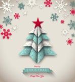 Árbol colorido de la papiroflexia, la Navidad abstracta Foto de archivo