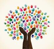 Árbol colorido del diseño de la solidaridad stock de ilustración