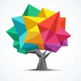 Árbol colorido Diseño geométrico del polígono Imagen de archivo libre de regalías