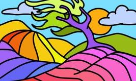 Árbol colorido torcido Foto de archivo libre de regalías