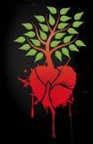 Árbol con el corazón rojo Foto de archivo libre de regalías