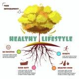 Árbol con el ejemplo de Infographic de la raíz Imagen de archivo libre de regalías