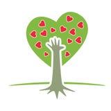 Árbol con la mano y los corazones Foto de archivo libre de regalías