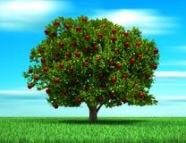 Árbol con la manzana stock de ilustración