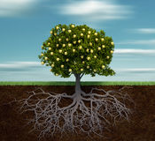 Árbol con la manzana de oro stock de ilustración