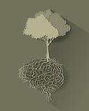 Árbol con la raíz del cerebro, vector Imágenes de archivo libres de regalías
