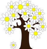 Árbol con las flores ilustración del vector