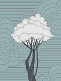 Árbol con las hoja-nubes Foto de archivo libre de regalías