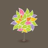 Árbol con las hojas coloridas. Vector stock de ilustración