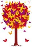 Árbol con las hojas de la mariposa, vector del otoño Foto de archivo libre de regalías