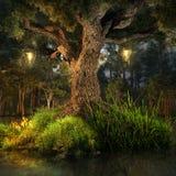 Árbol con las linternas Imagen de archivo libre de regalías