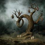 Árbol con las linternas y las velas libre illustration