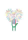 Árbol con las manos y los corazones stock de ilustración